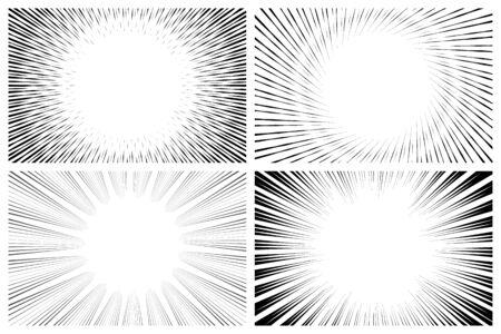 Colecciones de efectos de línea de velocidad de manga radial en monocromo