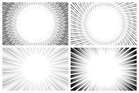 Radial manga speed line effect collections in monochrome