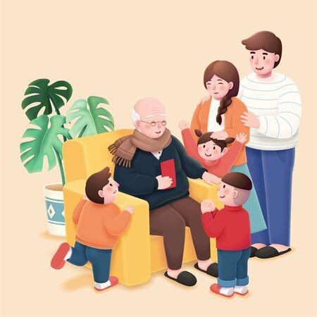 Kinderen nemen geluksgeld van grootvader in Chinees maanjaar