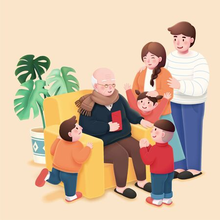 Les enfants prennent de l'argent chanceux de leur grand-père pendant l'année lunaire chinoise
