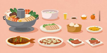 Delicious home cooked meal for Chinese lunar year on pink background
