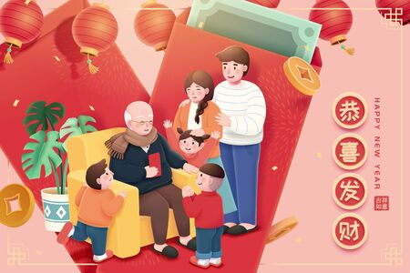 Children take lucky money from grandfather in Chinese lunar year on giant red envelope background, Wishing you prosperity and wealth written in Chinese words