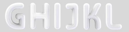 G, H, I, J, K, L white foil balloon set on light grey background in 3d rendering Reklamní fotografie
