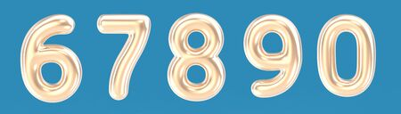 6, 7, 8, 9, 0 golden color foil balloon numbers set on blue background in 3d rendering