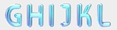 G, H, I, J, K, L blue gradient foil balloon set on light grey background in 3d rendering