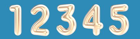 1, 2, 3, 4, 5 golden color foil balloon numbers set on blue background in 3d rendering