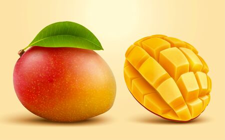 Realistic tropical mango fruit in 3d illustration