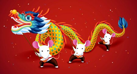 Cute white mice playing dragon dance for lunar year on red background Stock Illustratie