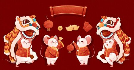 Rat year lion dance characters in paper art style on red background