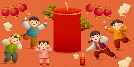 Cute kid lit firecrackers for holiday with giant firecracker and hanging lanterns, Chinese text translation: Fortune