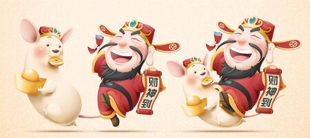 Laughing god of wealth and white mouse holding gold ingot banner, Chinese text translation: Welcome the caishen