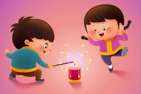 Cute children lighting firecrackers during holiday or new year Иллюстрация