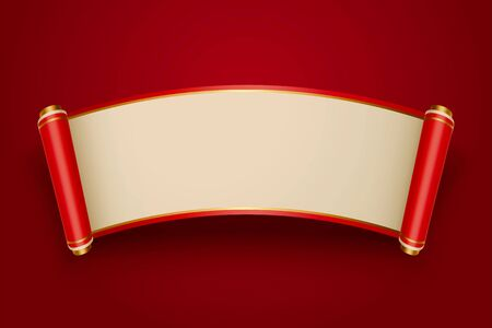 Retro Chinese style blank scroll on red background for design uses  イラスト・ベクター素材