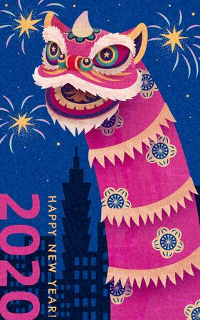 Attractive lion dance performance at city night with fireworks for chinese new year  イラスト・ベクター素材