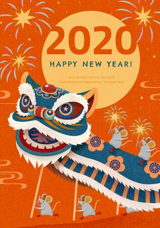 Attractive lion dance performance with fireworks for chinese new year on orange background