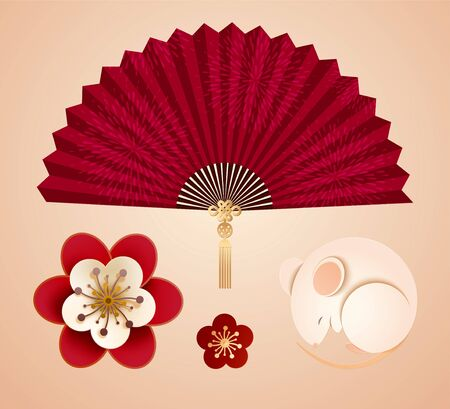 Paper art style design elements with white mouse, plum flowers and paper fan