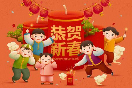 Niño lindo encendió petardos sobre fondo naranja, traducción de texto chino: Feliz año nuevo y fortuna
