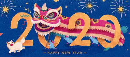 Attractive lion dance performance at night with fireworks for chinese new year, hand drawn style banner