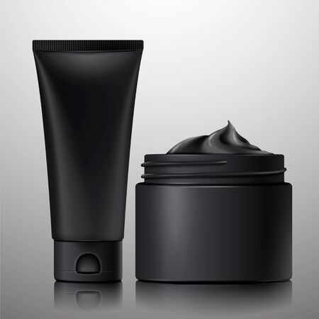 Blank charcoal cosmetic containers set in 3d illustration