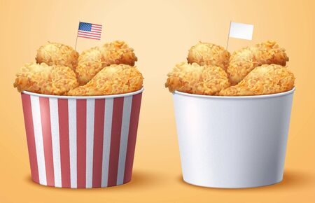 Takeout fired chicken bucket set with blank and striped container in 3d illustration