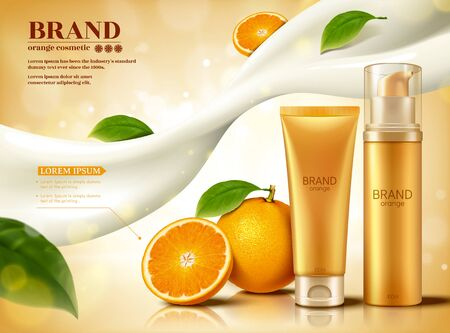 Fresh citrus cosmetic set with flowing creamy lotion and glittering effect in 3d illustration, skincare ads  イラスト・ベクター素材