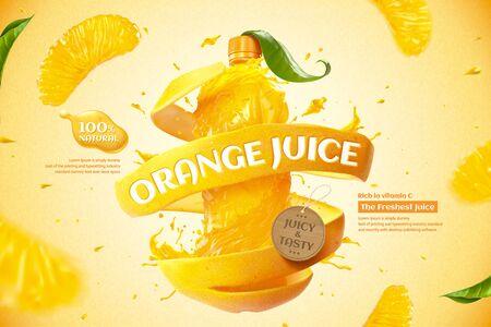 Annunci di succo di bottiglia d'arancia con spruzzi di liquido e polpa fresca in illustrazione 3d