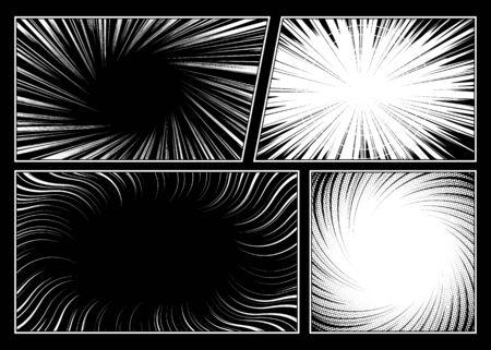 Swirl manga radial motion lines effect set
