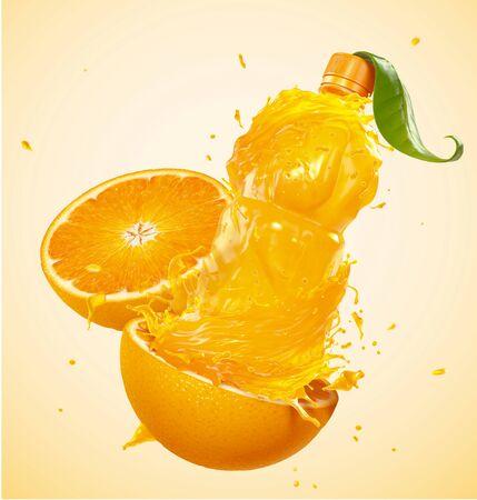 Orange juice in bottle shape with peel in 3d illustration