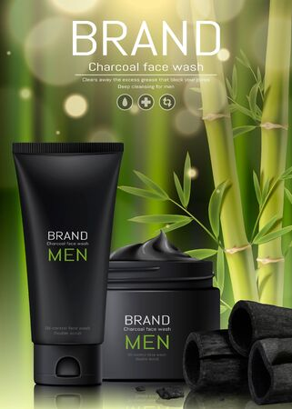 Charcoal men face wash ads on bamboo forest background in 3d illustration