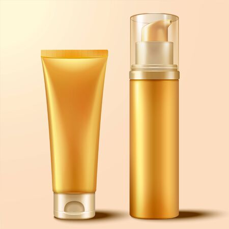 Blank cosmetic container set in gold color, 3d illustration