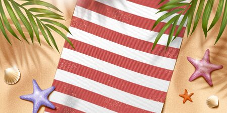 Relax summer beach scene with blanket and palm leaves in 3d illustration, top view angle