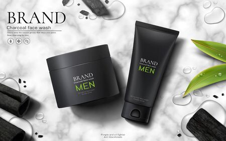 Charcoal men face wash ads on marble stone background in 3d illustration, flat lay style