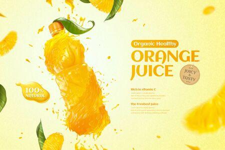 Orange bottle juice ads with splashing liquid and fresh pulp in 3d illustration