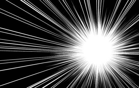 Fond d'effet de ligne radiale manga pour une atmosphère choquante ou surprise Vecteurs