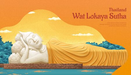 Thailand Wat Lokaya Sutha landmark illustration, travel concept template