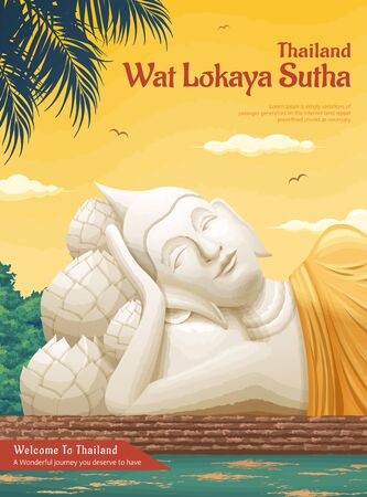 Thailand Wat Lokaya Sutha landmark illustration, travel concept poster