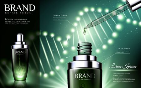 Green tone skincare droplet bottle ads with glowing gene helix effect in 3d illustration