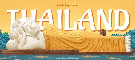Thailand Wat Lokaya Sutha landmark illustration, travel concept