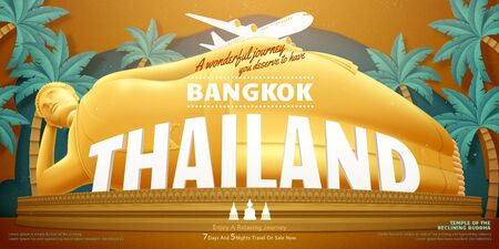 Thailand travel concept design with giant reclining buddha and palm trees background