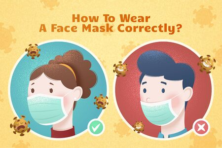 How to wear a face mask correctly illustration