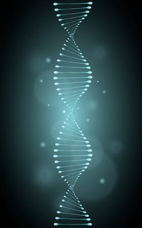Isolated genetic helix model with blue glowing effect