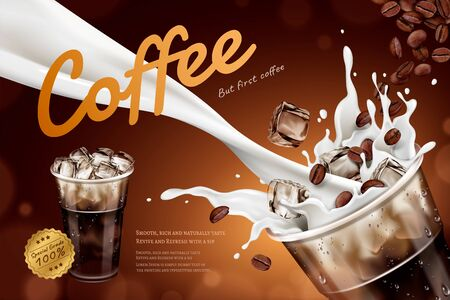 Cold latte ads with milk pouring down into takeout cup and flying coffee beans in 3d illustration, brown bokeh background Çizim