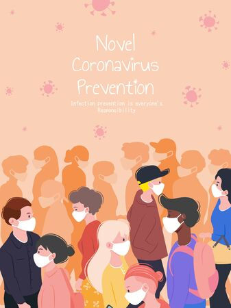 Group of people walking on the street and wearing protective masks to avoid coronavirus, Covid-19 prevention poster