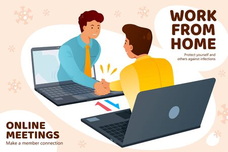 People work from home and have online meetings through internet to stop COVID-19 spreading, two men showing up from laptops and greeting to each other in flat style