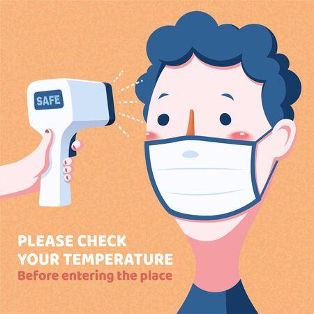 Check body temperature before entering the place, COVID-19 prevention illustration