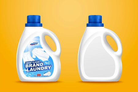 3d illustration laundry detergent bottle mockup set on chrome yellow background, one with label design