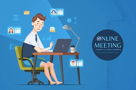 Man attending online meeting at home during COVID-19 outbreak, flat style illustration with blue background