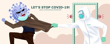 Coronavirus disguising itself with face mask tried to pass the gate but got caught by medical worker in hazmat suit, concept of detecting potential infection of COVID-19
