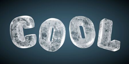 The word COOL made from realistic frozen ice, isolated on dark blue background, 3d illustration