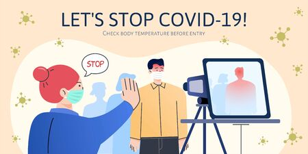 Thermal scanner detects an incoming passenger with fever and staff worker forbids him from entry, concept of COVID-19 prevention